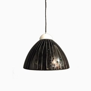 Black Murano Glass Pendant Lamps, 1970s, Set of 2