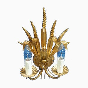 Hollywood Regency Italian Gilt Metal Sheaf Sconce, 1960s