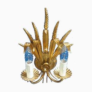 Italienische Hollywood Regency Wandlampe aus Vergoldetem Metall, 1960er