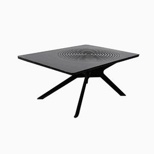 Mid-Century Black Cast Iron Coffee Table with Graphic Pattern