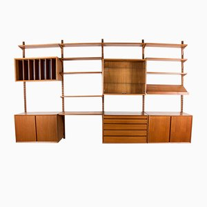 Large Danish Adjustable Teak Wall Unit by Poul Cadovius for Cado, 1960s