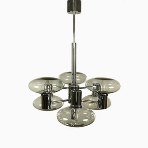 Mid-Century Chrome and Glass Pendant Lamp from Doria Leuchten, 1970s