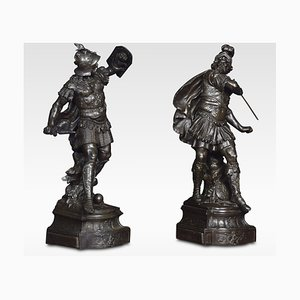 Antique Spelter Knight Figures, Set of 2