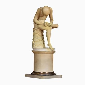 Antique Alabaster Spinario Sculpture