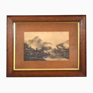 Antique Oak Framed Etching