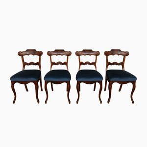 Antike Mahagoni Esszimmerstühle, 4er Set