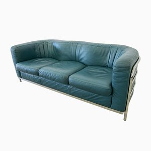 Green Leather 3-Seater Model Onda Sofa by De Pas, D'Urbino and Lomazzi for Zanotta, 1990s