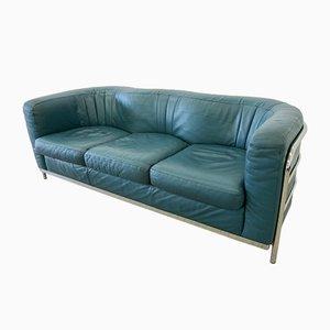 Green Leather 3-Seater Model Onda Sofa by De Pas, D'Urbino and Lomazzi for Zanotta, 1990s