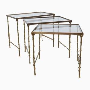 Tables Gigognes Mid-Century en Laiton et Bambou de Manège de Bagues, 1960s, Set de 3