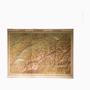 Mapa geográfico vintage de Suiza, años 30