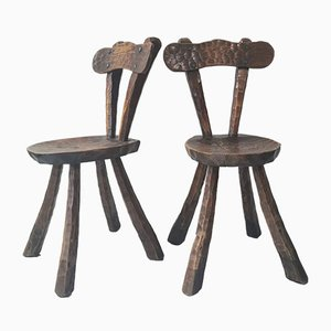 Brutalist Sculptural Wooden Dining Chairs by Alexandre Noll, 1970s, Set of 4