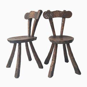 Sedie da pranzo brutaliste in legno di Alexandre Noll, anni '70, set di 4