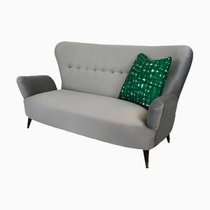 Italian Brass and Fabric Sofa by Emilia Sala & Giorgio Madini for La Permanente Mobili Cantù, 1950s