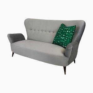 Italienisches Sofa aus Messing & Stoff von Emilia Sala & Giorgio Madini für La Permanente Mobili Cantù, 1950er
