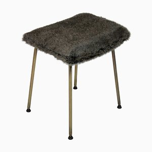 English Brass and Faux Fur Stool, 1950s