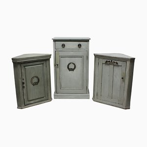 Antique Gustavian Swedish Wood and Silver Cabinets, Set of 3