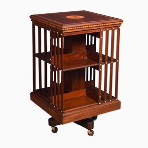 Antique Mahogany Inlaid Revolving Bookcase