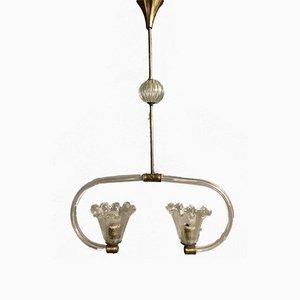 Lampe à Suspension Art Déco en Verre Murano par Ercole Barovier, 1940s
