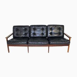 Dänisches Modell Capella 4-Sitzer Sofa aus Leder & Palisander von Illum Wikkelsø für Niels Eilersen, 1960er