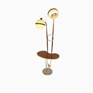 Lampada da terra vintage in metallo e teak a due braccia, Svezia, anni '50