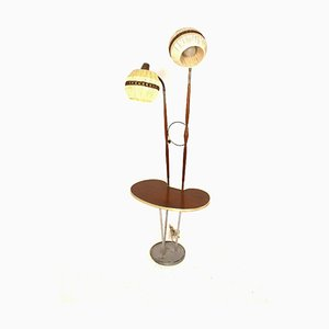 Vintage Swedish Metal and Teak 2-Arm Floor Lamp, 1950s