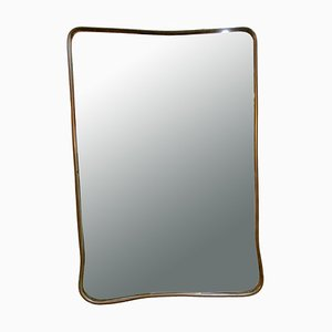 Mid-Century Brass Wall Mirror in the Style of Gio Ponti, 1960s