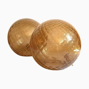 Large Mid-Century Beige Murano Glass Globe Table Lamps in the Style of Mazzega, 1970s, Set of 2