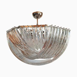 Large Mid-Century Clear Murano Glass Triedri Chandelier by Paolo Venini for Venini, 1980s