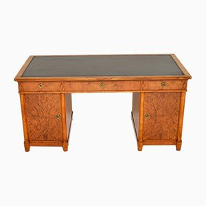 Antique Swedish Satin Birch Pedestal Desk