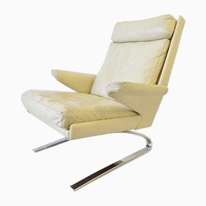 Cremefarbener Leder Sessel von Reinhold Adolf für Cor, 1960er