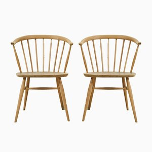 Vintage Light Elm Crown Chairs by Lucian Ercolani for Ercol, 1960s, Set of 2