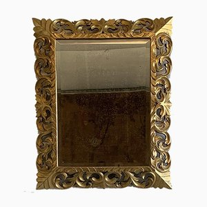 Großer Französischer Spiegel mit Vergoldetem Holzrahmen