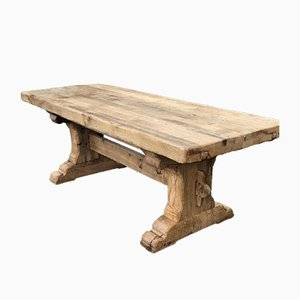 19th Century French Bleached Oak Farmhouse Dining Table