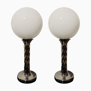Mid-Century Table Lamps with Chromed Columns and White Opaline Glass, 1950s, Set of 2