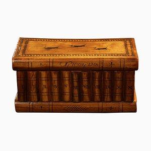 Italian Book Casket Box mit versteckten Fach in Nussholz, Ebenholz & Ahorn, 1900er Jahre
