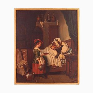 Peinture à l'Huile du Petit Chaperon Rouge du 19ème Siècle par Mari Pol, France, 1863