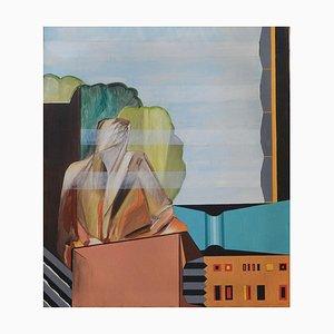 Abstrakte italienische kubistische Malerei von Mario Rossello, 1965