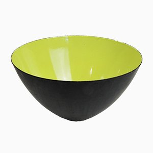 Large Mid-Century Danish Yellow & Green Enamel Krenit Bowl by Herbert Krenchel, 1950s