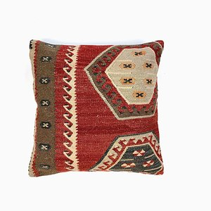 Vintage Square Wool Kilim Cushion Cover with Moroccan Decor