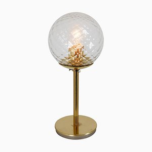 Mid-Century Modernist Brass Table Lamps with Structured Glass, 1970s