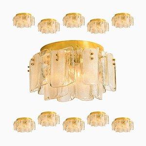 Große Deckenlampe aus Glas & Messing im Stile von Kalmar, 1969