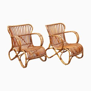 Bamboo Wicker Lounge Chairs by Dirk van Sliedregt for Rohe Noordwolde, 1950s, Set of 2