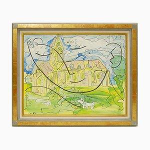 Pintura al óleo La Maison du Curé sobre lienzo de Alain Rothstein, 1992