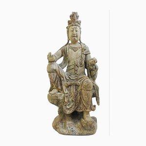 Großer antiker geschnitzter hölzerner Buddha