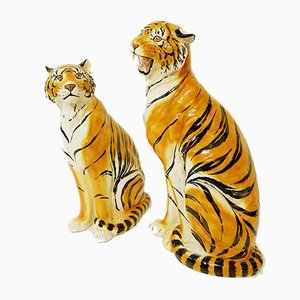 Large Italian Glazed Terracotta Tigers, 1970s, Set of 2