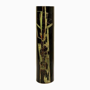 Cylindrical Vase in Black Engraved Glass Signed by A. Riecke, 1970s