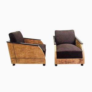 Vintage Art Deco Club Chairs in Polished Burr Wood, Set of 2