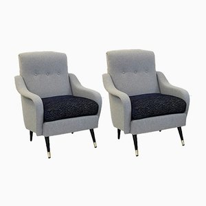 Italian Armchairs with Pierre Frey Collection Upholstery, 1960s, Set of 2