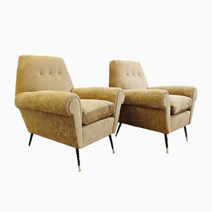 Velvet Astrakan Armchairs by Gigi Radice for Minotti, 1960s, Set of 2