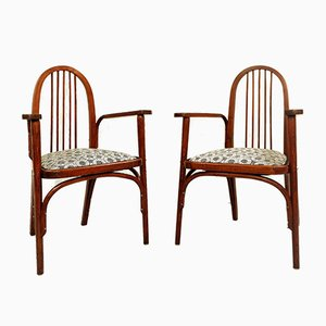 Backhausen Fabric Armchairs by Josef Hoffmann for Thonet, 1900s, Set of 2